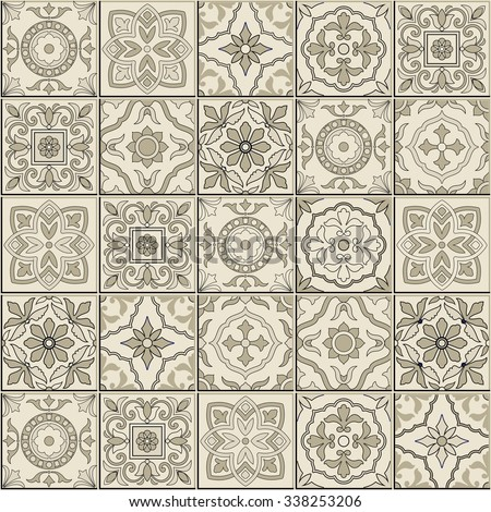 Gorgeous seamless  pattern from sepia white Moroccan, Portuguese  tiles, Azulejo, ornaments. Can be used for wallpaper, pattern fills, web page background,surface textures.  - stock vector
