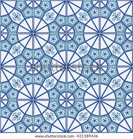 Gorgeous seamless  pattern  white Turkish, Moroccan, Portuguese  tiles, Azulejo, Arabic ornament. Islamic art.   Can be used for wallpaper, pattern fills, web page background,surface textures. - stock vector