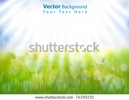 Gorgeous vector spring background with sky, grass, sun rays and multiple bokehs. Fully editable eps10 - stock vector
