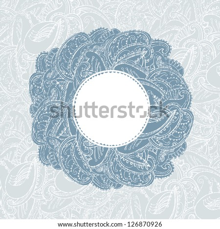 Gorgeous vintage lace-like paisley frame - stock vector