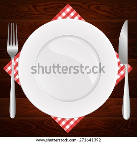 Gorgeous white plate with fork and knife on dark wooden table. Vector illustration can be used for restaurant and cafe menu or food posters design, prints or other crafts.