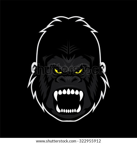 gorilla face vector - stock vector