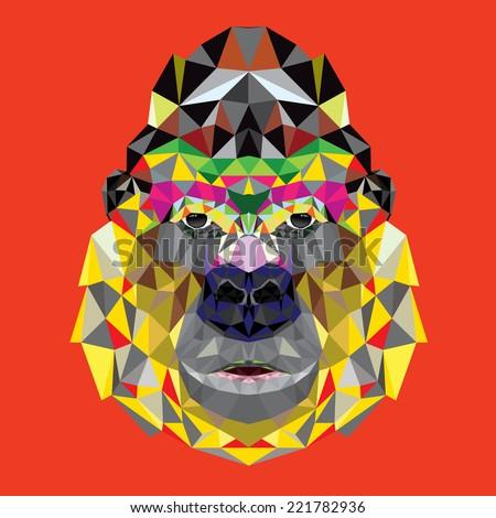 Gorilla head design in geometric pattern - stock vector