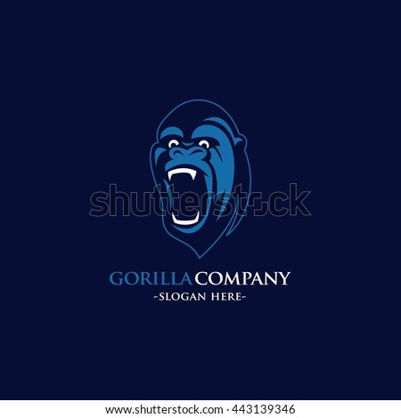 Gorilla head design logo template vector illustration. flat style - stock vector