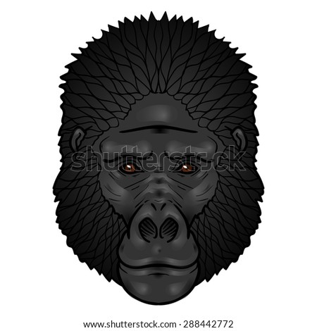 Gorilla head gradients. isolation on a white background - stock vector