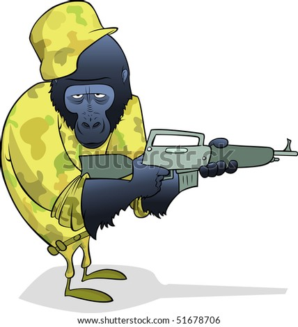 Gorilla Soldier in desert uniform with a machine gun