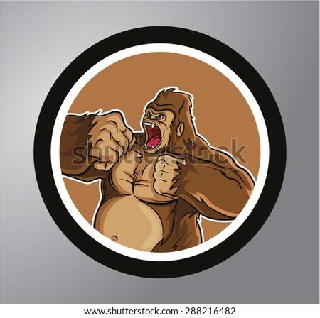 Gorilla sticker banner - stock vector