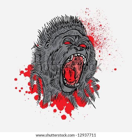 gorilla vector - stock vector