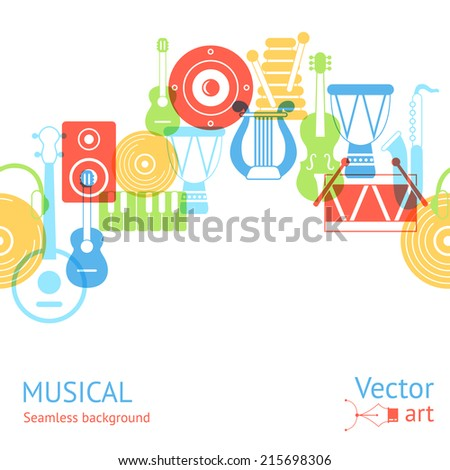 Gorizontal seamless pattern of silhouette musical instruments. Vector illustration - stock vector