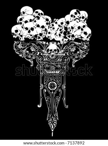 Goth skulls vector illustration - stock vector