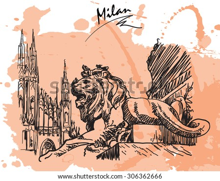 Gothic and Baroque architecture meeting together at Piazza del Duomo in Milan. Sketch style drawing imitating ink pen drawing with a grunge background on a separate layer. EPS10 vector illustration. - stock vector