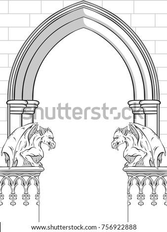Gothic Arch With Gargoyles Hand Drawn Vector Illustration Frame Or Print Design