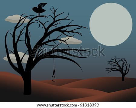 Gothic Bird Sits creepy curvy tree noose dusky red full moon vector illustration - stock vector