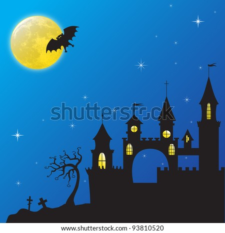 Gothic castle in the moonlight. EPS10 vector illustration for Haloween - stock vector