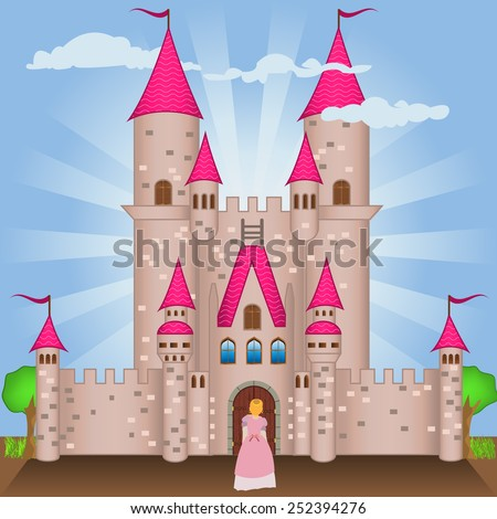 Gothic castle with a  princess on the door. - stock vector