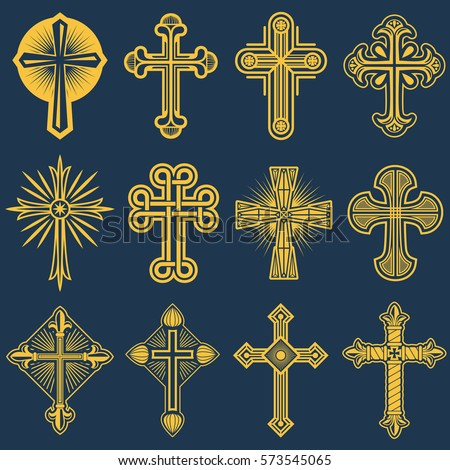Gothic Catholic Cross Vector Icons Catholicism Stock Vector Royalty