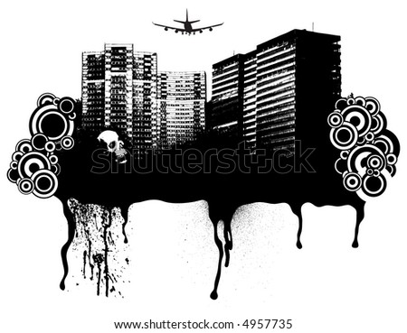 Gothic city scape with room to add your own text or company logo - stock vector