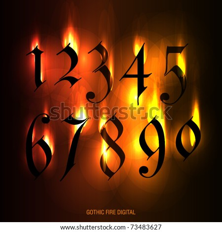 Gothic fire digital - stock vector