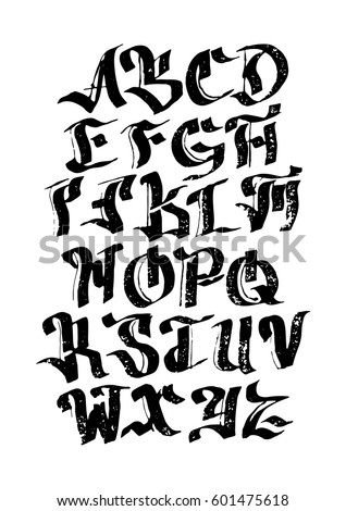 Gothic Font For Your Design Hand Drawn Calligraphy Lettering Alphabet Stylish Letters Vector