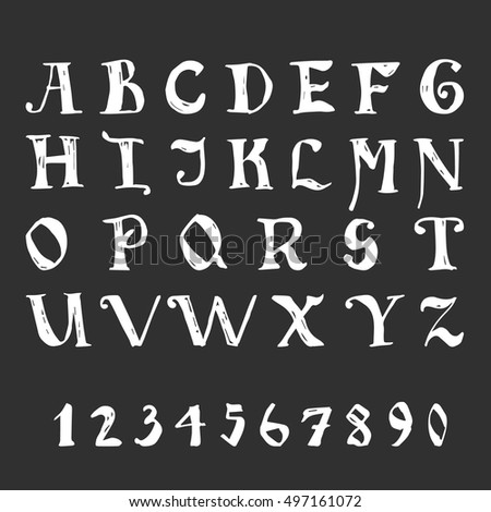 Gothic font with numbers. Hand drawn letters for design. Vector illustration.