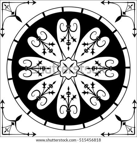 Gothic Rose Architecture Element Window