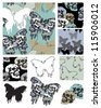 Gothic Style Butterfly and Skull Seamless Patterns and Icons. - stock photo