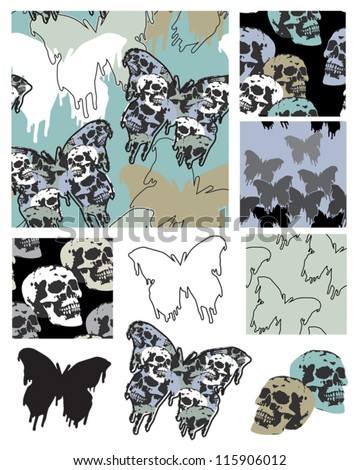 Gothic Style Butterfly and Skull Seamless Patterns and Icons. - stock vector