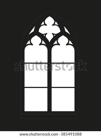 Gothic Window Silhouette Vista Vector Graphics Stock Photo