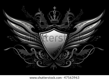 Gothic Winged Shield Insignia - stock vector