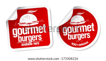Gourmet burgers stickers set. - stock vector