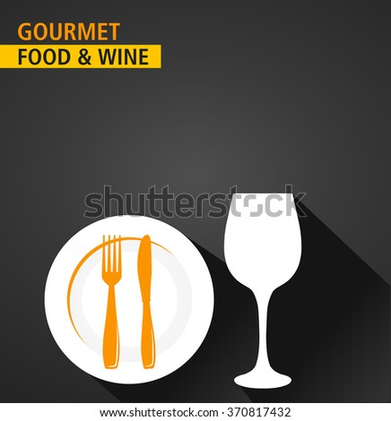 gourmet food and wine serving, menu background, flat and shadow theme - vector eps10