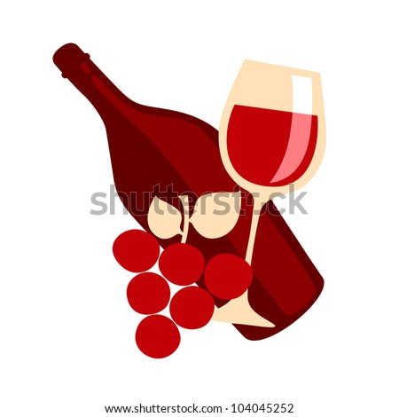 Gourmet lifestyle - Red wine and grapes - stock vector