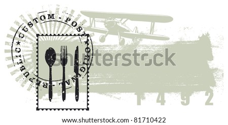 gourmet stamp with grunge background - stock vector