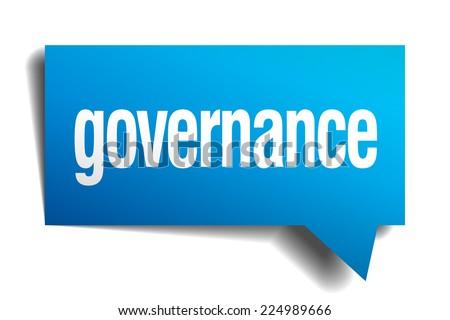 governance blue 3d realistic paper speech bubble - stock vector