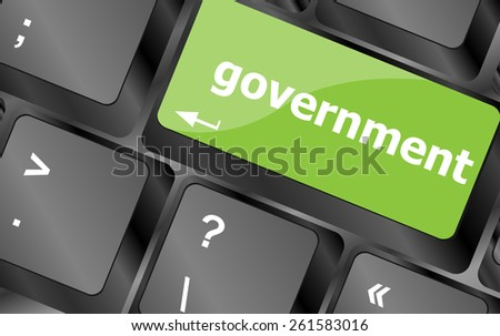 government word on keyboard key, notebook computer button - stock vector