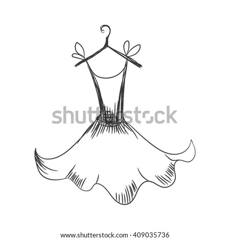 gown hand drawing sketch female monochrome short on a hanger on a white background - stock vector
