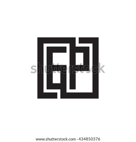 GP initial letters looping linked square monogram logo