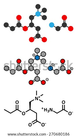 GPLC (glycine propionyl-L-carnitine) nutritional supplement molecule. Stylized 2D renderings and conventional skeletal formula. - stock vector