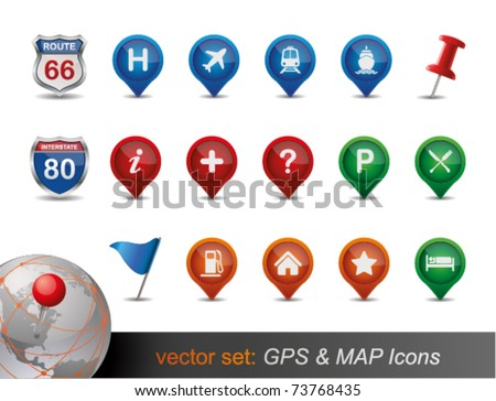 GPS and MAP Icon Set. - stock vector