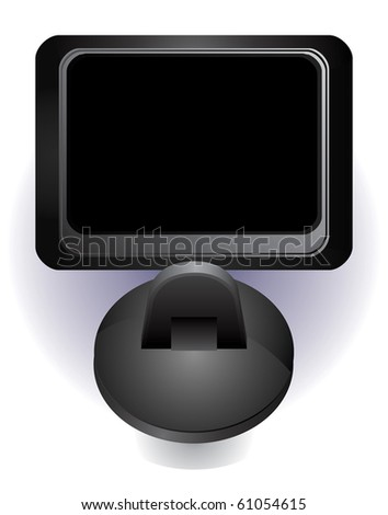 GPS car navigation vector illustration with black screen - stock vector