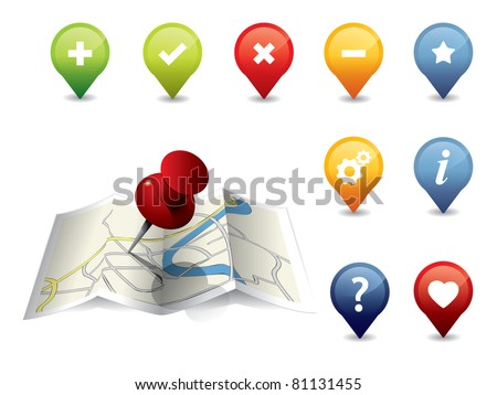 GPS Icon set - stock vector