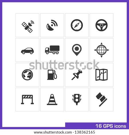 Gps icon set vector black pictograms 138362165 for Truck design app