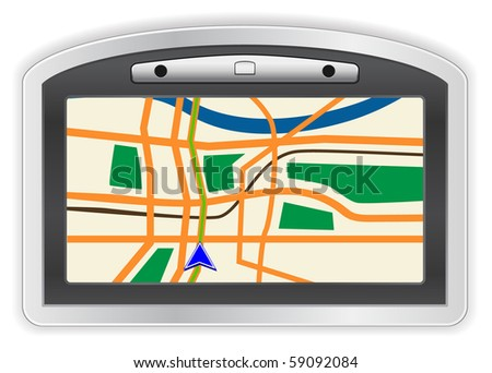 GPS icon with map - stock vector