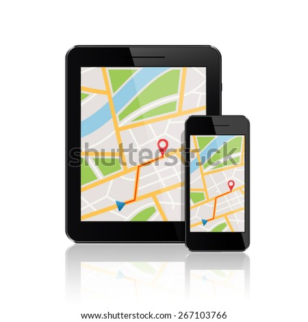 GPS map on display of smartphone and tablet pc