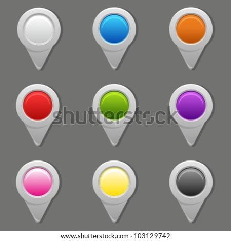 GPS map pins set. - stock vector