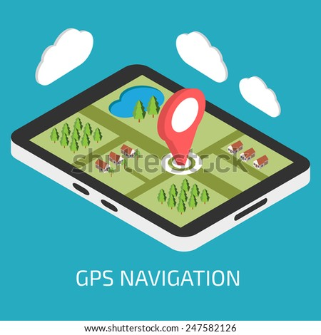 GPS mobile navigation with tablet or smartphone - stock vector