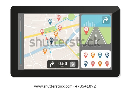 Gps navigation device and city map with pins and icons, technology and traveling concept