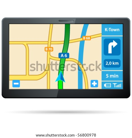 GPS navigation - vector illustration - stock vector