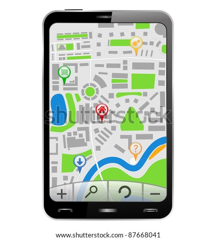 GPS Navigator in Smartphone, vector illustration - stock vector