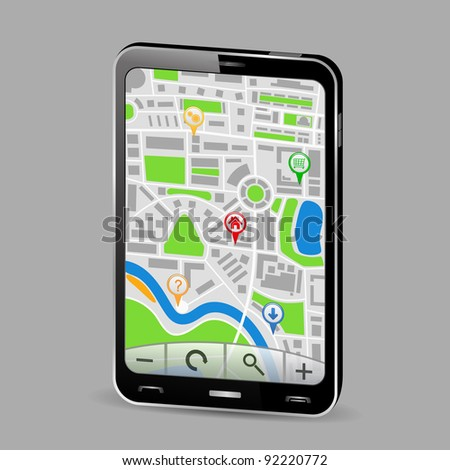 GPS Navigator in Smartphone, vector illustration